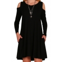 Women's Choker Cold Shoulder Hollow High Neck Long Sleeve Plain Midi Swing Dress