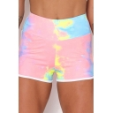 Retro Women's Shorts Tie Dye Pattern Contrast Trim Asymmetrical Hem High Waist Slim Fitted Yoga Shorts