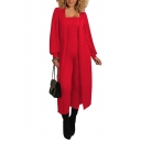 Womens Co-ords Trendy Solid Color Rib Knit Long Sleeve Maxi Open Front Jacket Sleeveless Strapless Slim Fitted Jumpsuit Co-ords