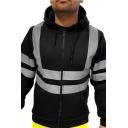 Fancy Men's Hoodie Reflect Light Contrast Panel Front Pocket Zip Placket Long Sleeves Regular Fitted Drawstring Hooded Sweatshirt