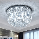 Round Flush Mount Ceiling Light Modernist Crystal Strand 9 Lights Bedroom Flushmount in Silver