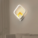 White Rhombus Wall Light Fixture Minimalist LED Metal Flush Mount Wall Sconce in Warm/White Light for Living Room
