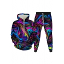Cool Mens 3D Co-ords Colored Ombre Pattern Slim Fitted 7/8 Length Tapered Pants Long Sleeve Hoodie Jogger Co-ords