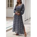 Resort Style A-Line Dress Ditsy Floral Pattern Button Detail Side Slit V Neck Long Bishop Sleeves Maxi A-Line Dress for Women