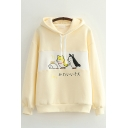 Womens Hooded Sweatshirt Simple Dog Japanese Letter Embroidery Panel Drawstring Long Drop-Sleeve Relaxed Fitted Hooded Sweatshirt