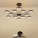 Molecular Acrylic Chandelier Contemporary 6 Lights Black/Gold LED Ring Pendant Lamp in Warm/White Light