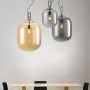 Capsule Ceiling Hanging Lantern Post-Modern Amber/Smoke Grey Glass Single Bedside Down Lighting Pendant, 9.5