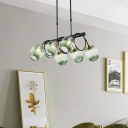 Dimpled Cup Island Light Fixture Modern Blue/Green Gradient Glass 6/8/10 Lights Dining Room Linear Pendant Lamp in Black