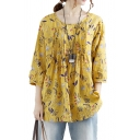 Trendy Women's Shirt All over Print Pleated Button Closure Round Neck Long-sleeved Relaxed Fit Blouse Shirt