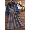 Stylish Women's Blouse Dress Patchwork Color Block Plaid Pattern Bow-Tie Drawstring Waist Ruffle Hem Stand Collar Long-sleeved Fitted Blouse Dress