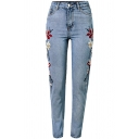 Chic Symmetrical Floral Embroidered Mid Waist Basic Skinny Jeans