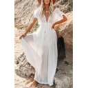 Leisure Women's Blouse Dress Solid Color Button Closure Drawstring Waist Butterfly Sleeve V Neck Long Blouse Dress