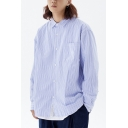 Retro Womens Shirt Stripe Pattern Button up Point Collar Regular Fit Long Sleeve Shirt with Chest Pocket