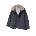 Unique Womens Parka Flap Pockets Bungee-Style Hem Detachable Fur-Trimmed Zipper Detail Long Sleeve Turn-down Collar Loose Fit Padded Jacket