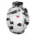 Men's White 3D Poker Card Printed Long Sleeve Pullover Boxy Hoodie