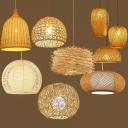 Rattan Strawman Down Lighting Pendant Rustic 1 Bulb Restaurant Hanging Lamp in Beige, 16