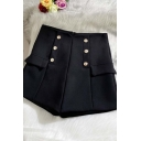 Womens Shorts Creative Solid Color Double Breasted Pocket Flap Design Zipper Back Wide Leg High Waist Regular Fitted A-Line Tailored Shorts