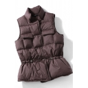 Basic Women's Vest Solid Color Fluffy Quilted Flap Pockets Button-down Stand-Collar Sleeveless Regular Fitted Coat Vest