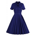 Unique Womens Dress Plain Button Detail Buckle Belted Tie Neck Short Sleeve A-Line Slim Fitted Midi Swing Dress