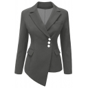 Womens Jacket Stylish Solid Color Pocket Flap Design Asymmetric Hem Three-Button Lapel Collar Slim Fit Long Sleeve Suit Jacket