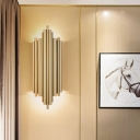 Flute Living Room Wall Lighting Ideas Metal 4 Bulbs Mid Century Sconce Light in Gold