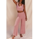 Elegant Women's Two Piece Set Solid Color Plushed Strap Scoop Neck Slim Fitted Tank Top with High Rise Pants Set
