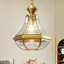 Clear/Water Glass Pear Shaped Pendant Lamp Traditional Single-Bulb Dining Room Hanging Light Fixture in Brass