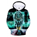 Fashion 3D Green Wolf Printed Long Sleeve Pullover Hoodie