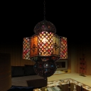 Stained Glass Palace Lantern Pendant Turkish Style 1 Head Bedside Pendulum Light in Copper