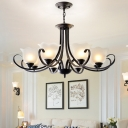 Vintage 1/2-Tier Flower Chandelier 3/6/9 Lights Opaline Frosted Glass Pendant Lighting with Scroll Arm in Black
