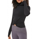 Womens Sport T-Shirt Creative Solid Color Twist-Front Finger Holes Slim Fitted Long Sleeve High Neck Tee Top