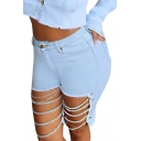 Creative Womens Shorts Faded Wash Cut-out Chain Decorated Frayed Edge High Rise Slim Fitted Denim Shorts