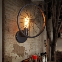 Art Deco Wheel Wall Mount Lamp Metal Single-Bulb Garage Sconce Light Fixture in Black