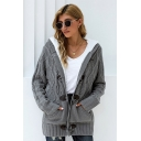 Stylish Women's Cardigan Cable Knit Front Pockets Ribbed Trim Horn Button Closure Plushed Hooded Long Sleeves Regular Fitted Cardigan