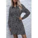 Trendy Womens Shirt Dress Polka Dot Pattern Button down Side Slits Tie Front Turn-down Collar Long Sleeves Regular Fitted Shirt Dress