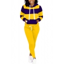 Fancy Women's Co-ords Hoodie Color Block Front Pocket Long-sleeved Regular Fitted Drawstring Hooded Sweatshirt with Pocket Long Pants Set