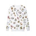 Kawaii Cat Print Pullover Cotton Blend Sweatshirt