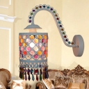 Single-Bulb Cylindrical Wall Lamp Bohemian White/Red Metal Gooseneck Wall Light with Fringe and Embedded Bead