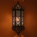 Metal Hollowed out Lantern Sconce Turkish 1 Bulb Living Room Wall Mounted Light in Brass
