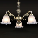 Bronze Floral Ceiling Pendant Antique Frosted Glass 3-Light Dining Room Chandelier Light Fixture