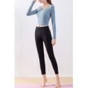 Quick Dry Women's Two Piece Set Round Neck Long-sleeved Slim Fitted Tee Top with Pants Yoga Co-ords