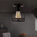 Single-Bulb Caged Semi Flush Light Industrial Black Iron Ceiling Mount Lamp for Bistro