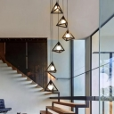 6 Lights Triangular Pyramid Drop Pendant Industrial Style Black Iron Multiple Hanging Lamp for Stairs
