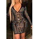 Elegant Women's Bodycon Dress Sequins Floral Pattern V Neck Long Sleeves Slim Fitted Bodycon Dress
