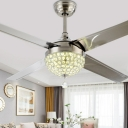 Hemisphere LED Semi Mount Lighting Modern Nickel Crystal Beaded 4 Blades Pendant Fan Lamp, 48