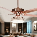 Rose Gold 3-Light Pendant Fan Light Retro White Glass Bowl 4-Blade Semi Flush Ceiling Lamp, 42