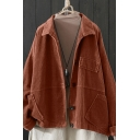 Novelty Womens Jacket Plain Corduroy Pocket Flap Design Full-Button Long Sleeve Turn-down Collar Loose Fit Casual Jacket