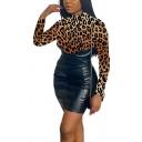 Basic Womens Dress Leopard Tiger Zebra Skin Pattern PU Leather Patchwork Invisible Zipper Back Mini Slim Fitted Mock Neck Long Sleeve Bodycon Dress