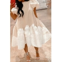 Fancy Women's A-Line Dress Solid Color Fluffy Pleated Short Puff Sleeves Round Neck Relaxed Fitted A-Line Dress