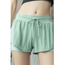 Womens Shorts Trendy Solid Color Thin Anti-Emptied Quick Dry Drawstring Waist Regular Fitted Sport Shorts